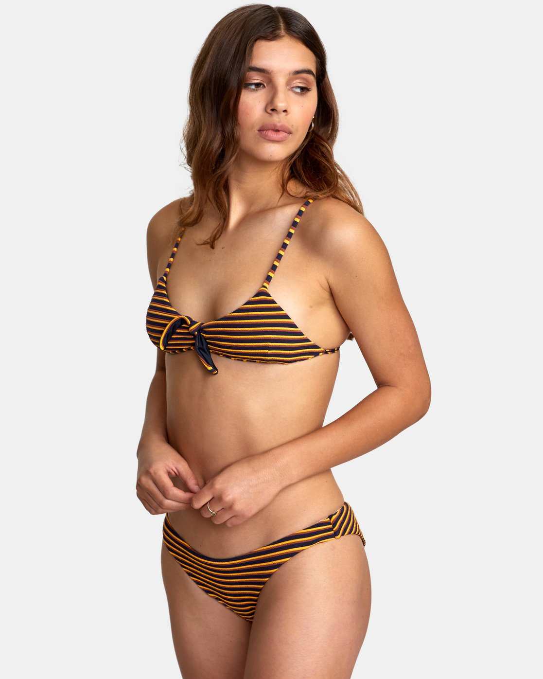 1 Bondi Stripe Knot Tri - Textured Stripe Bikini Top for Women Blue S3STRJRVP0 RVCA