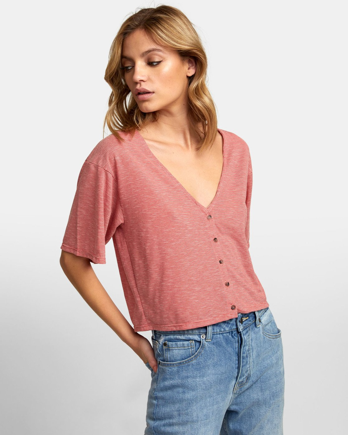3 Chalked Top - V Neck Tee for Women Red S3TPRDRVP0 RVCA