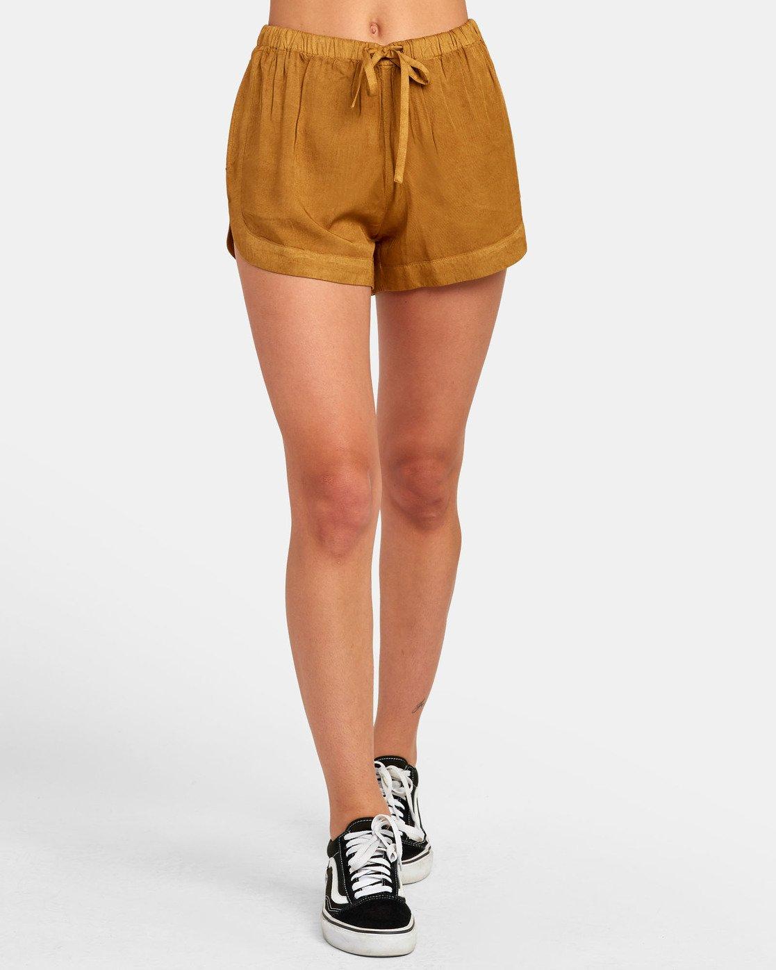 0 New Yume - Shorts mit Gummibund für Damen Braun S3WKRQRVP0 RVCA