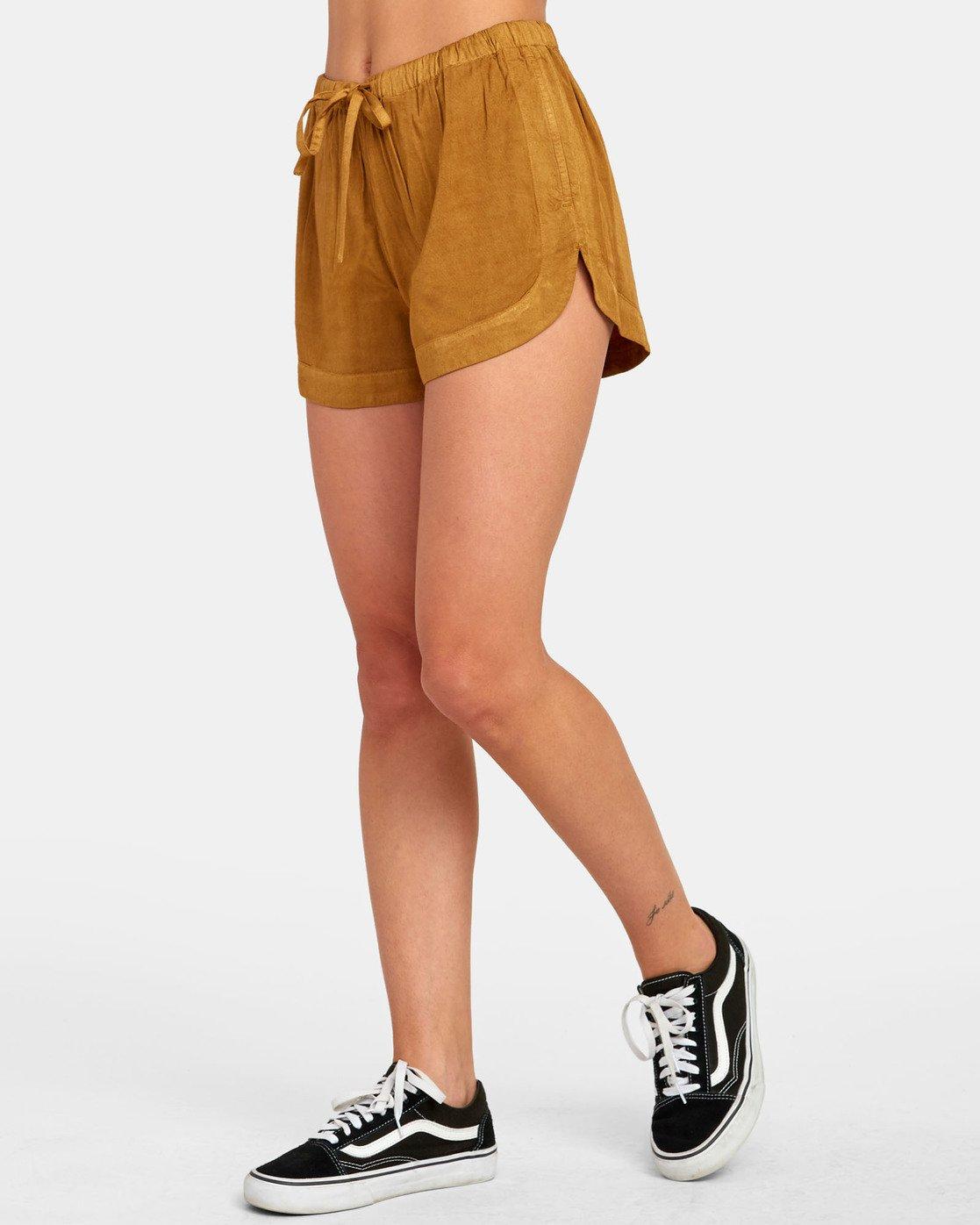 1 New Yume - Shorts mit Gummibund für Damen Braun S3WKRQRVP0 RVCA