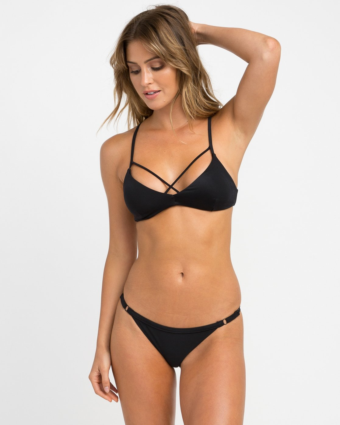 2 Solid Medium Bikini Bottoms Black SKXB01SM RVCA