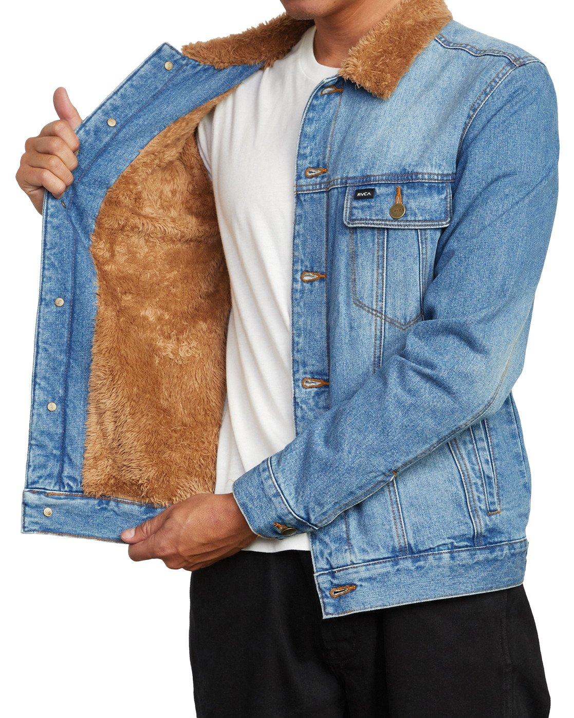 5 Daggers - Denim Sherpa Jacket for Men Blue U1JKRTRVF0 RVCA