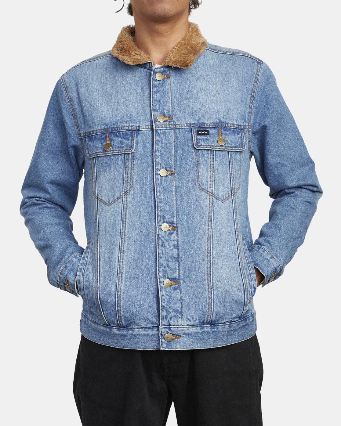 0 Daggers - Denim Sherpa Jacket for Men Blue U1JKRTRVF0 RVCA