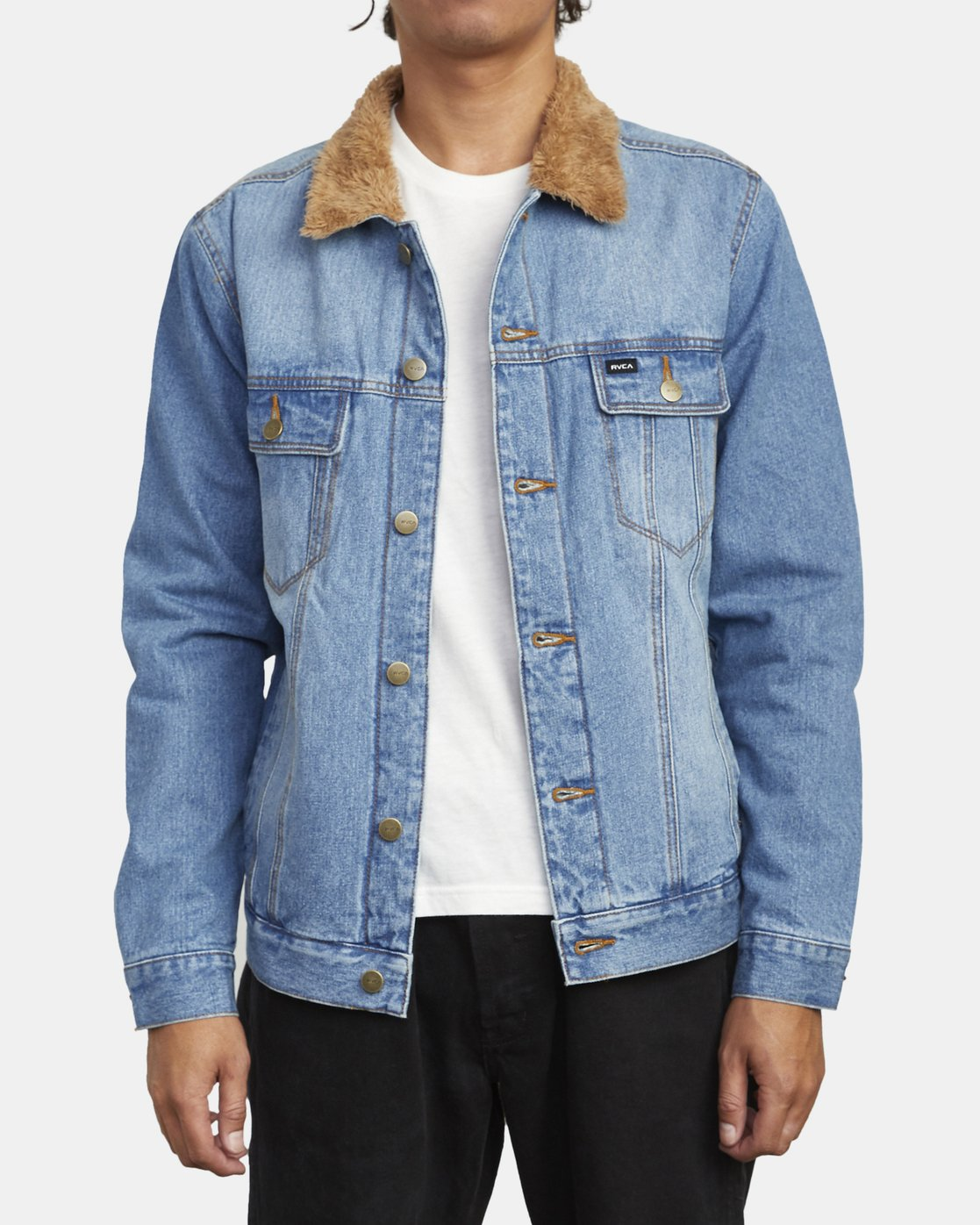 1 Daggers - Denim Sherpa Jacket for Men Blue U1JKRTRVF0 RVCA