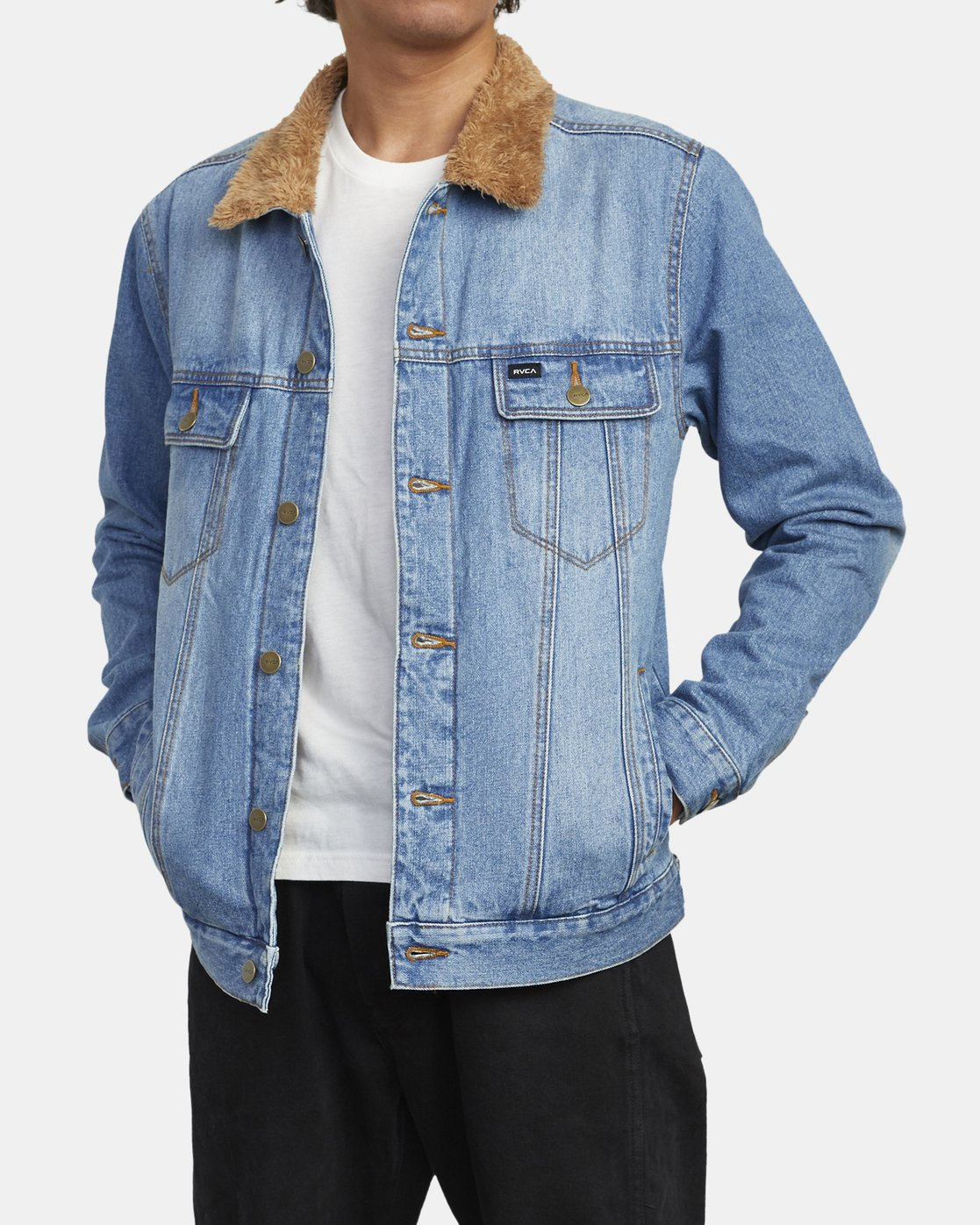 2 Daggers - Denim Sherpa Jacket for Men Blue U1JKRTRVF0 RVCA