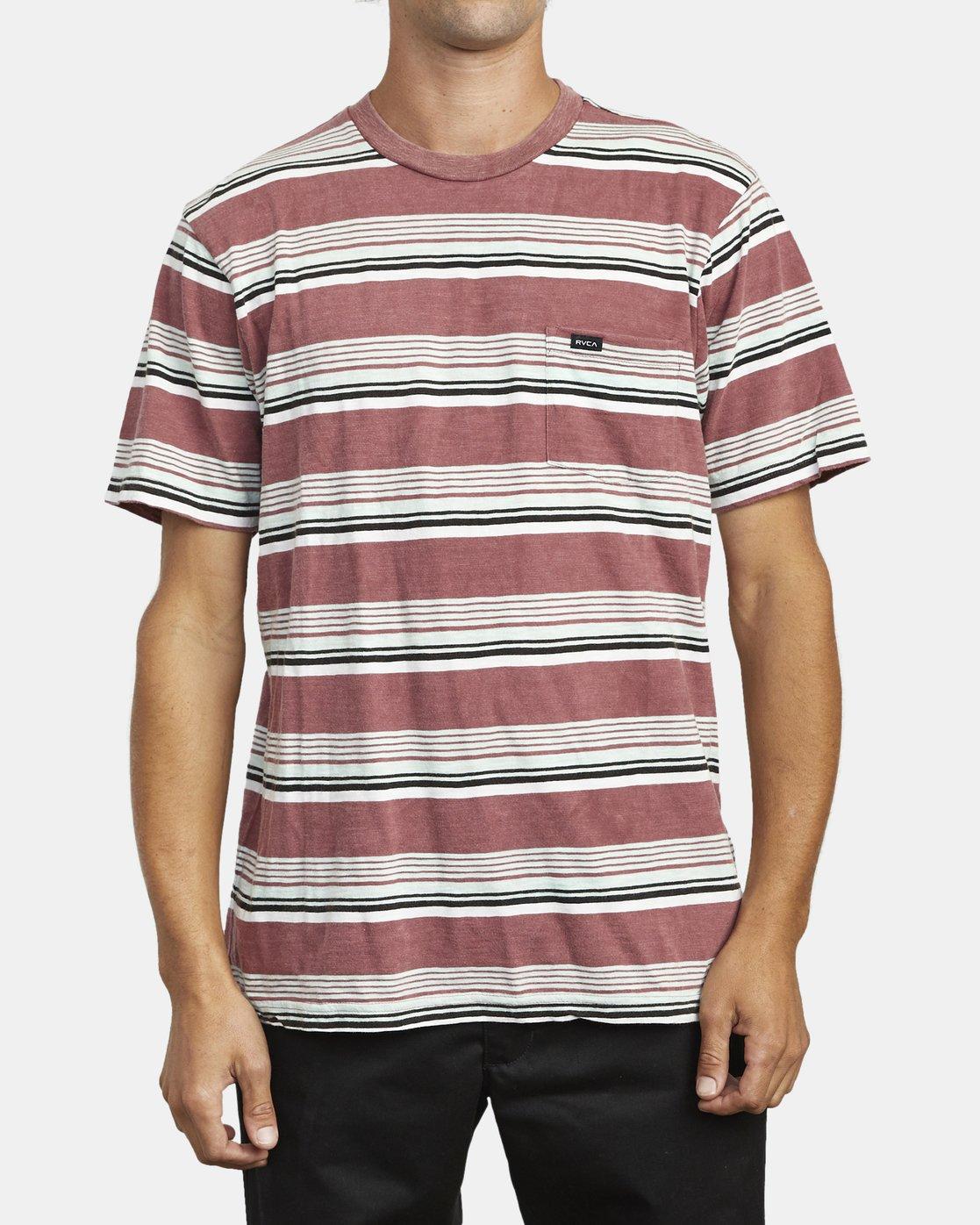 2 Ventura Stripe - Short Sleeve Top for Men Red U1KTRBRVF0 RVCA