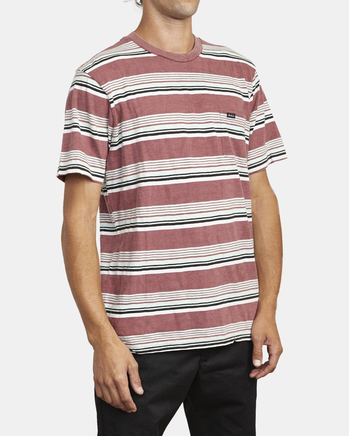 5 Ventura Stripe - Short Sleeve Top for Men Red U1KTRBRVF0 RVCA