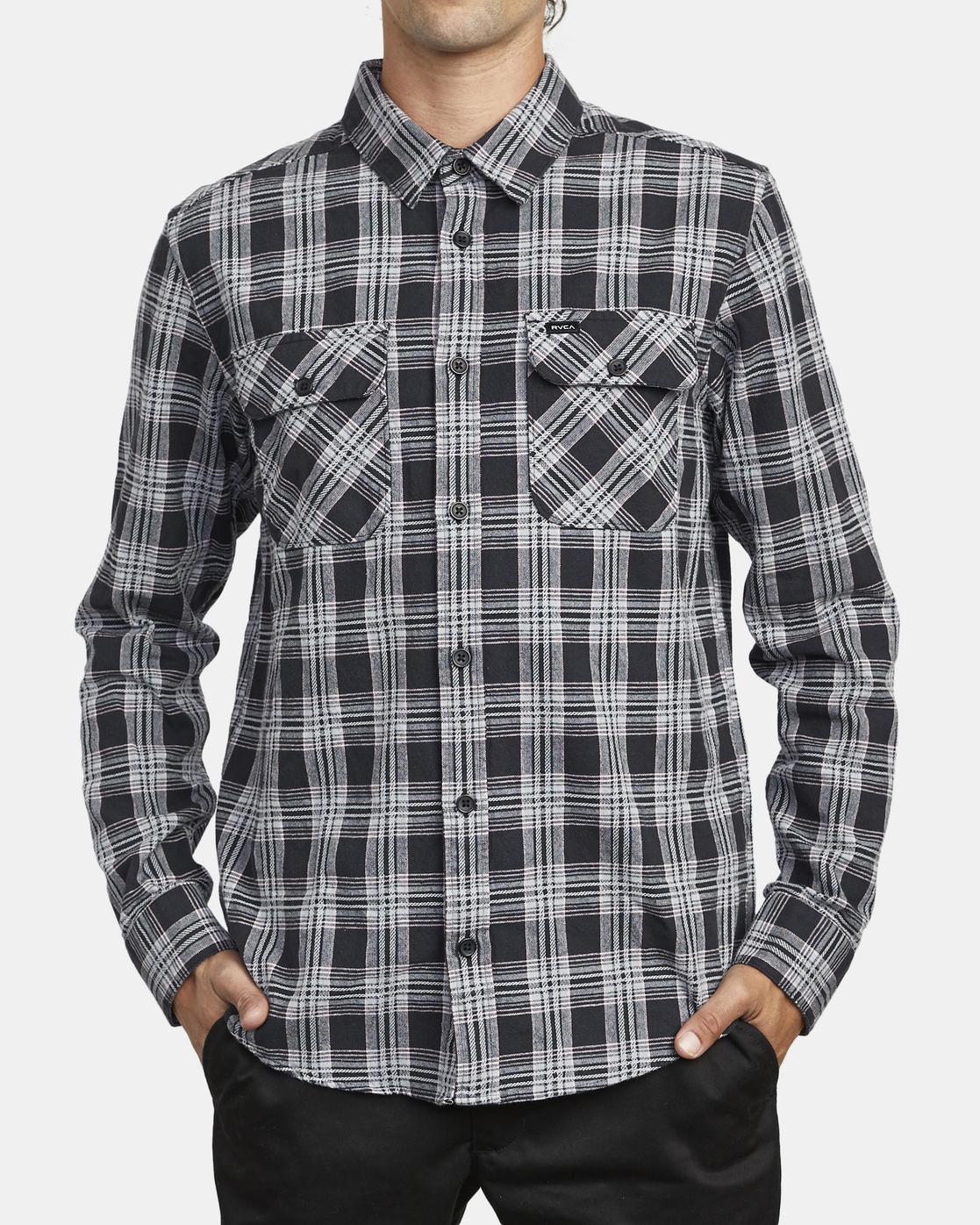 2 Thatll Work Flannel - Long Sleeve Flannel Shirt for Men Black U1SHRSRVF0 RVCA