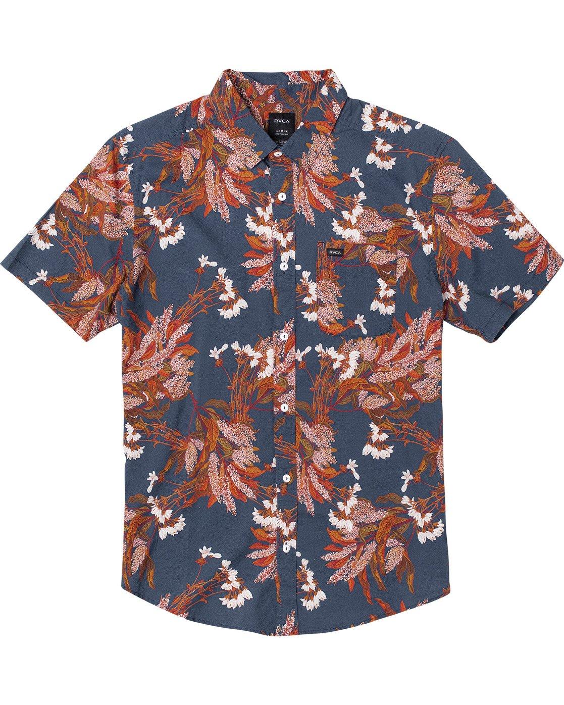 0 Paradiso Floral - Short Sleeve Shirt for Men Blue U1SHRXRVF0 RVCA