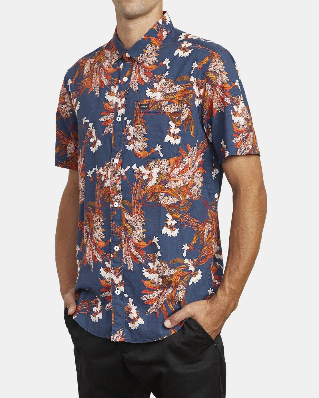 4 Paradiso Floral - Short Sleeve Shirt for Men Blue U1SHRXRVF0 RVCA
