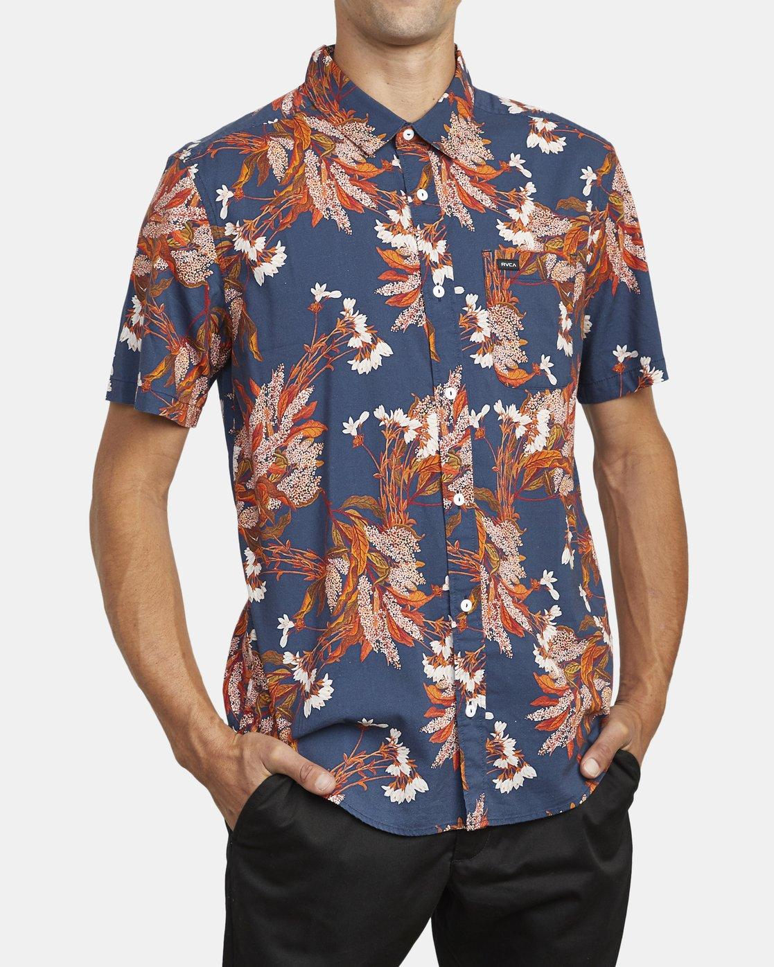 5 Paradiso Floral - Short Sleeve Shirt for Men Blue U1SHRXRVF0 RVCA