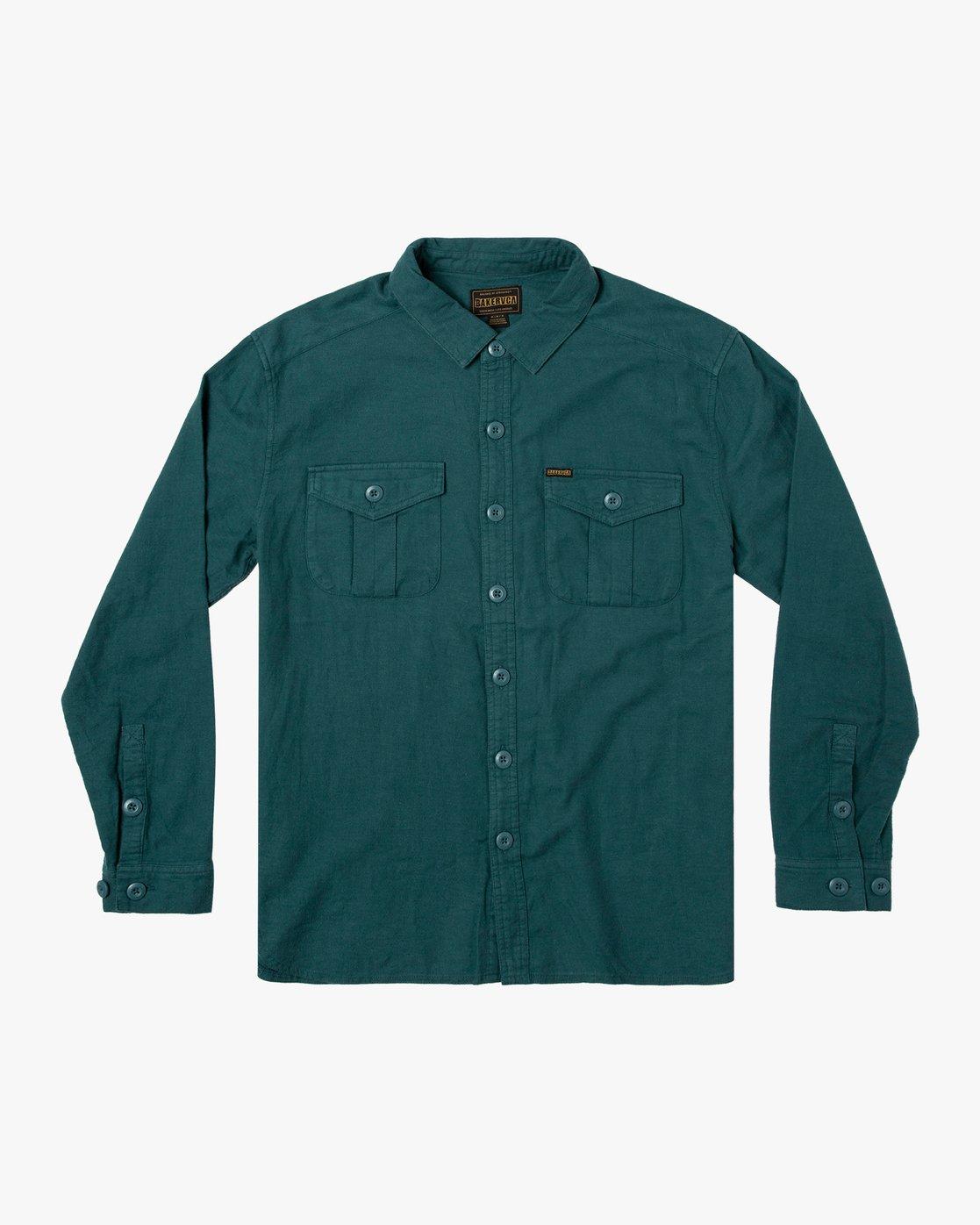 0 Baker RVCA - Long Sleeve Flannel Shirt for Men Green U1SHVBRVF0 RVCA