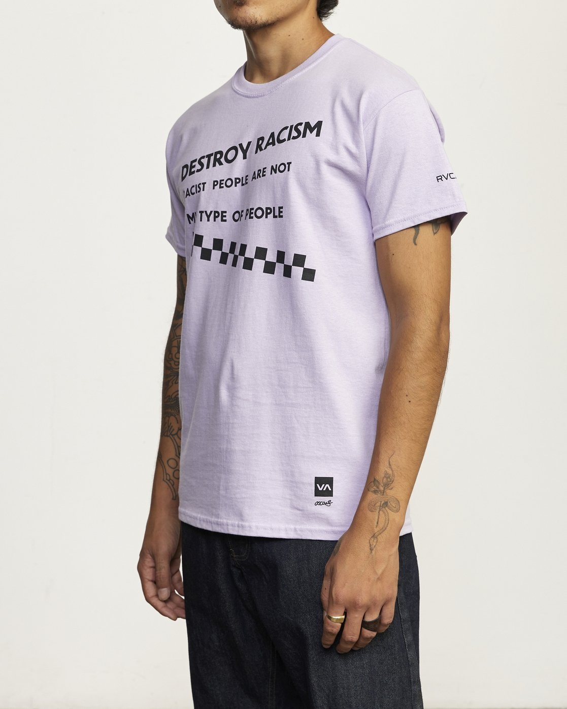 3 RVCA Destroy Racism - T-shirt pour Homme Violet U1SSBCRVMU RVCA