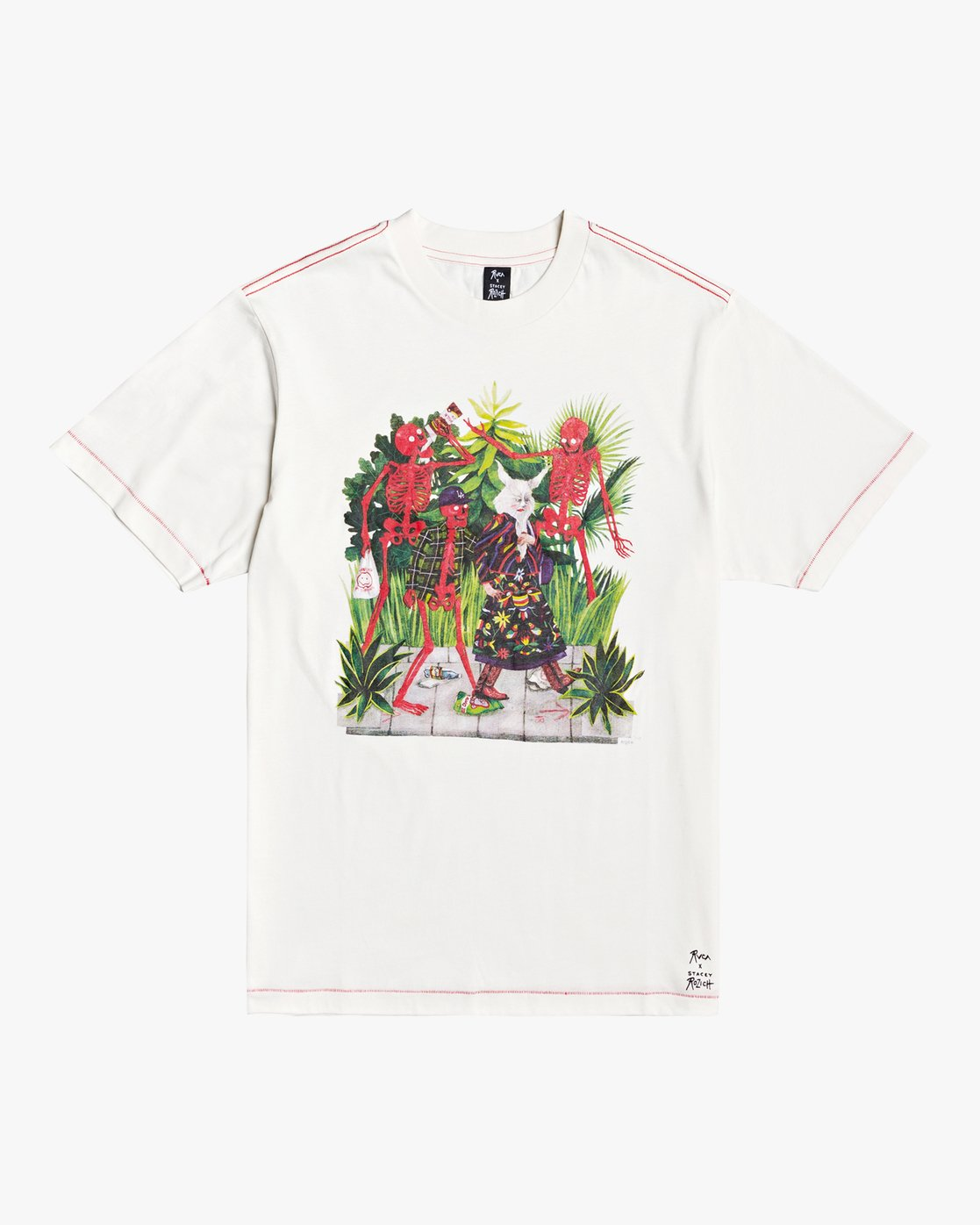 0 Stacey Rozich Bone - T-shirt pour Homme Blanc U1SSRFRVF0 RVCA