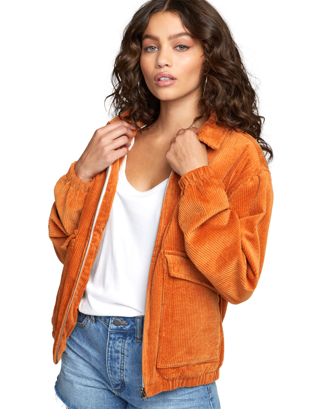 5 Viber Corduroy - Corduroy Jacket for Women Orange U3JKRCRVF0 RVCA