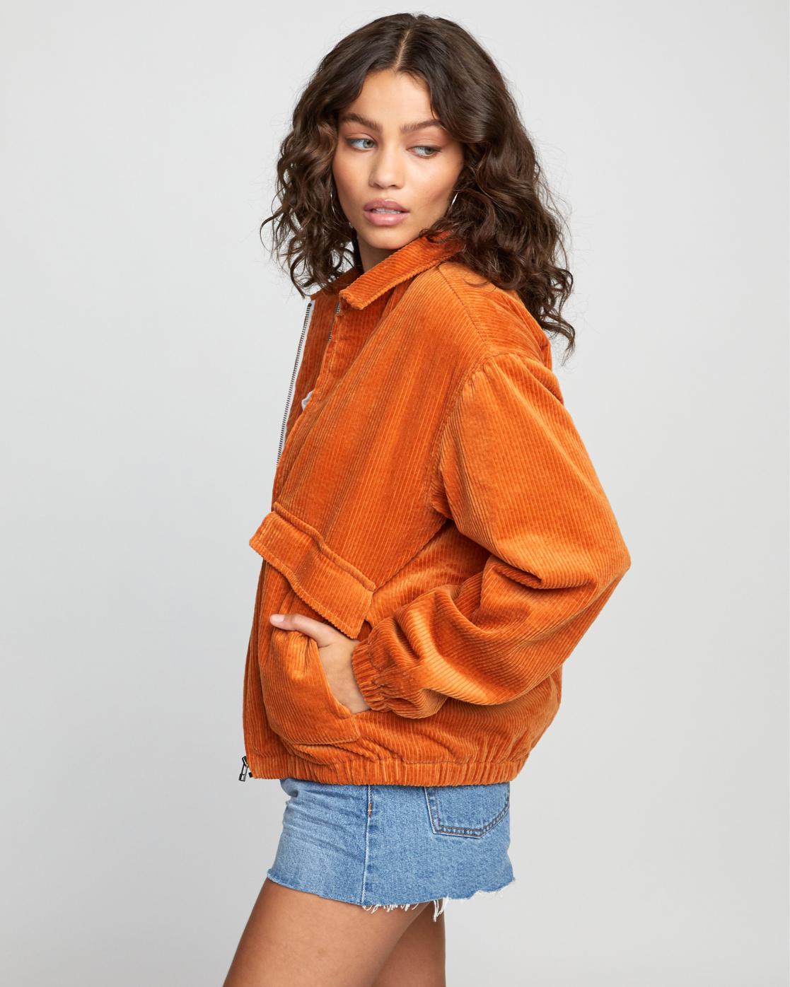 3 Viber Corduroy - Corduroy Jacket for Women Orange U3JKRCRVF0 RVCA