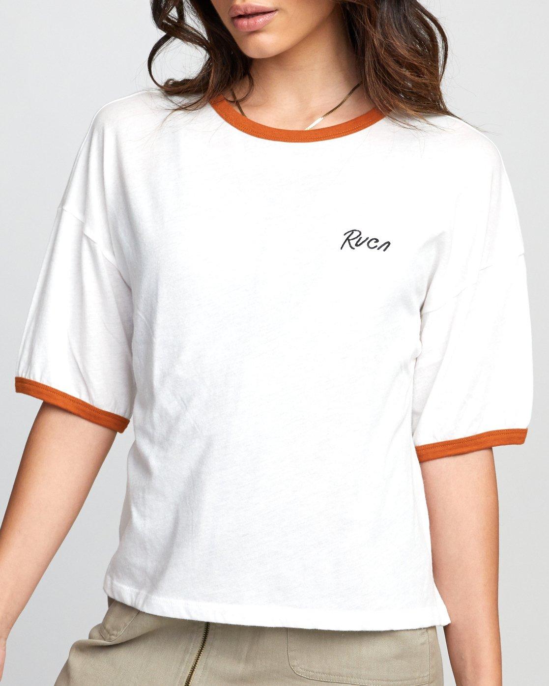 New RVCA Big RVCA Women/'s T-Shirt Vintage White
