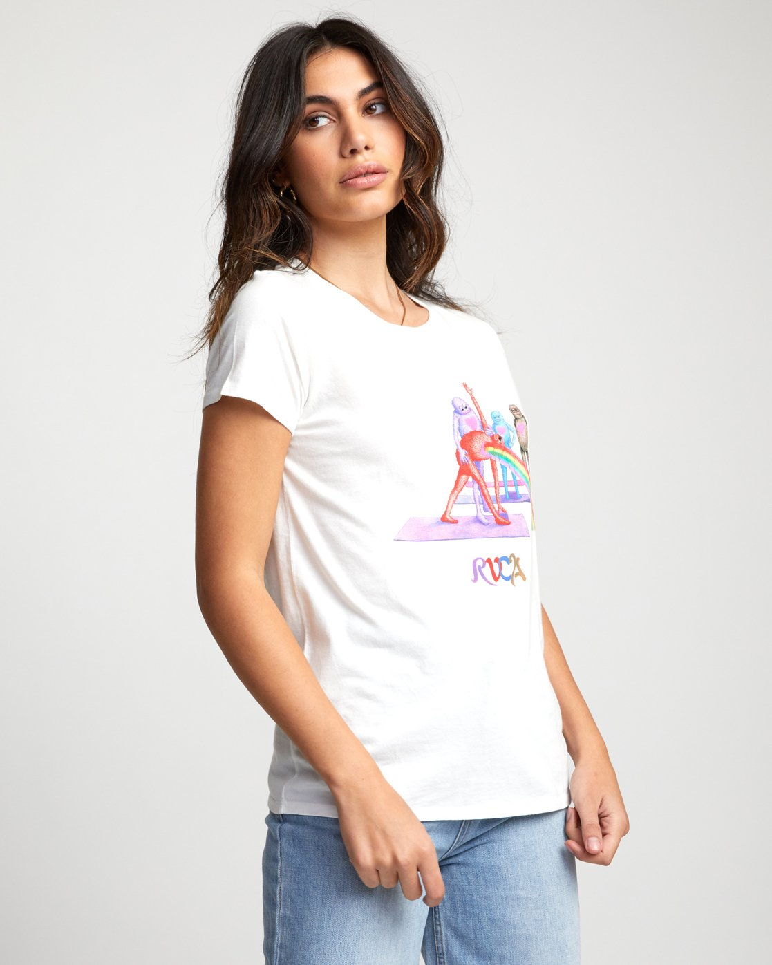 3 Matt Furie Rainbow Yoga - T-Shirt for Women White U3SSRMRVF0 RVCA