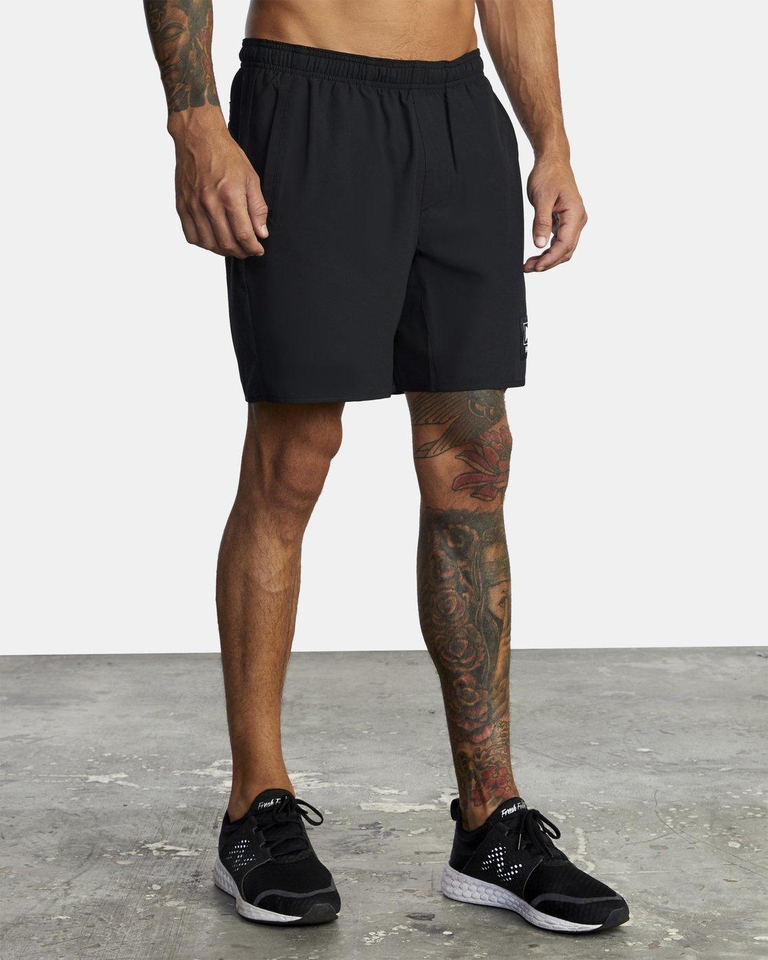 "7 Everlast Yogger IV 17"" - Workout Shorts for Men Black U4WKEARVF0 RVCA"