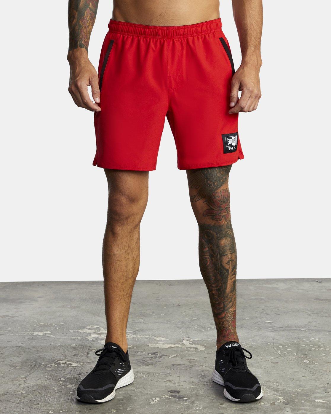 "4 Everlast Yogger IV 17"" - Workout Shorts for Men Red U4WKEARVF0 RVCA"