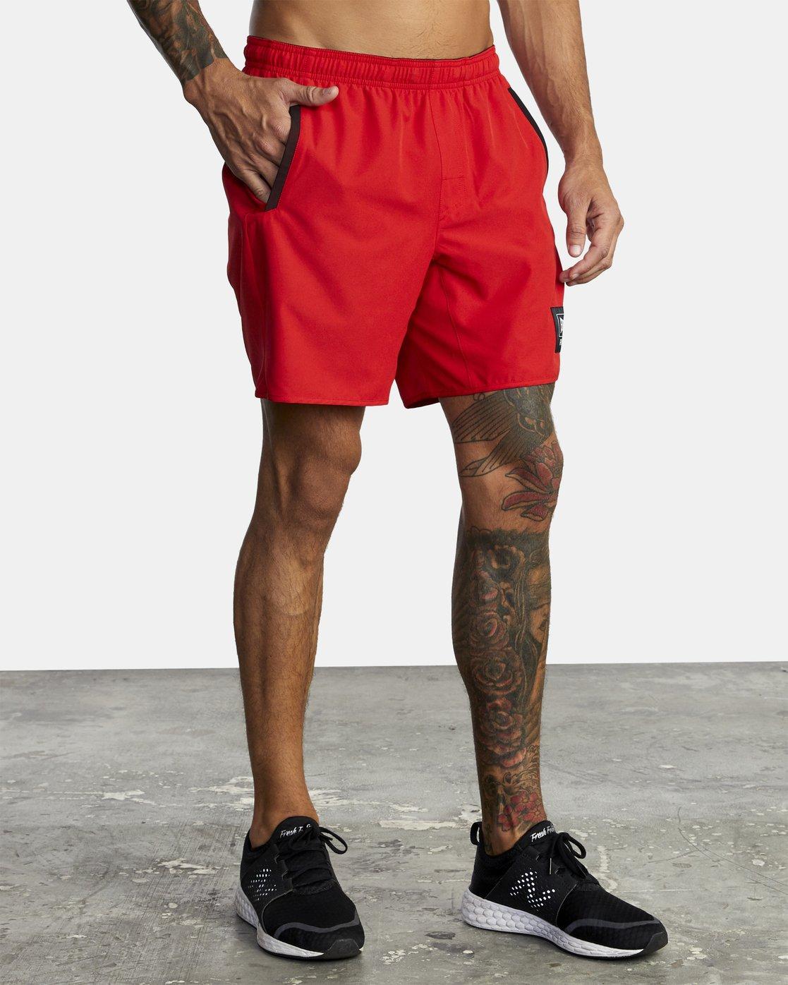 "9 Everlast Yogger IV 17"" - Workout Shorts for Men Red U4WKEARVF0 RVCA"