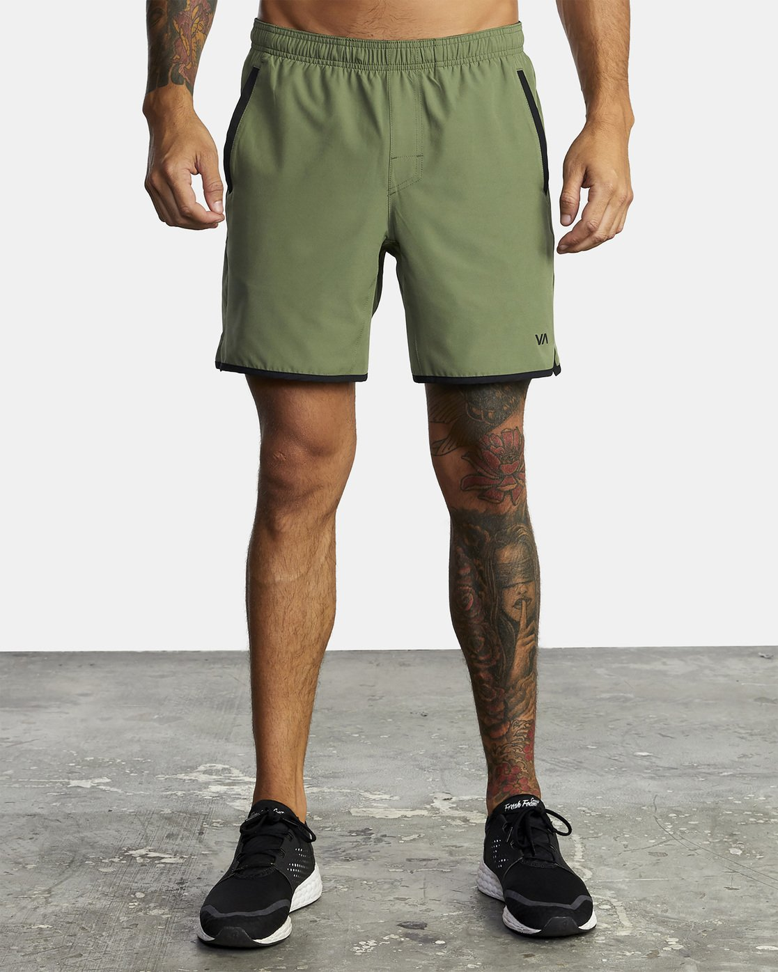 "2 YOGGER STRETCH ATHLETIC SHORTS 17"" Green V201TRYS RVCA"