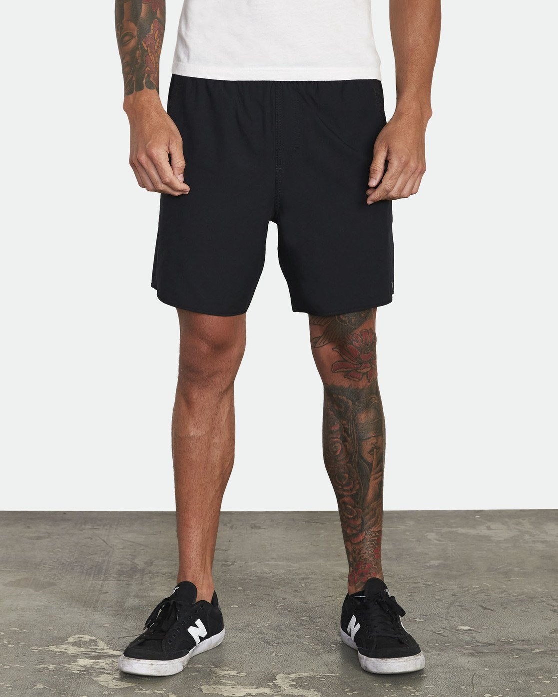 "1 YOGGER STRETCH recycled 17"" workout SHORT Black V201TRYS RVCA"