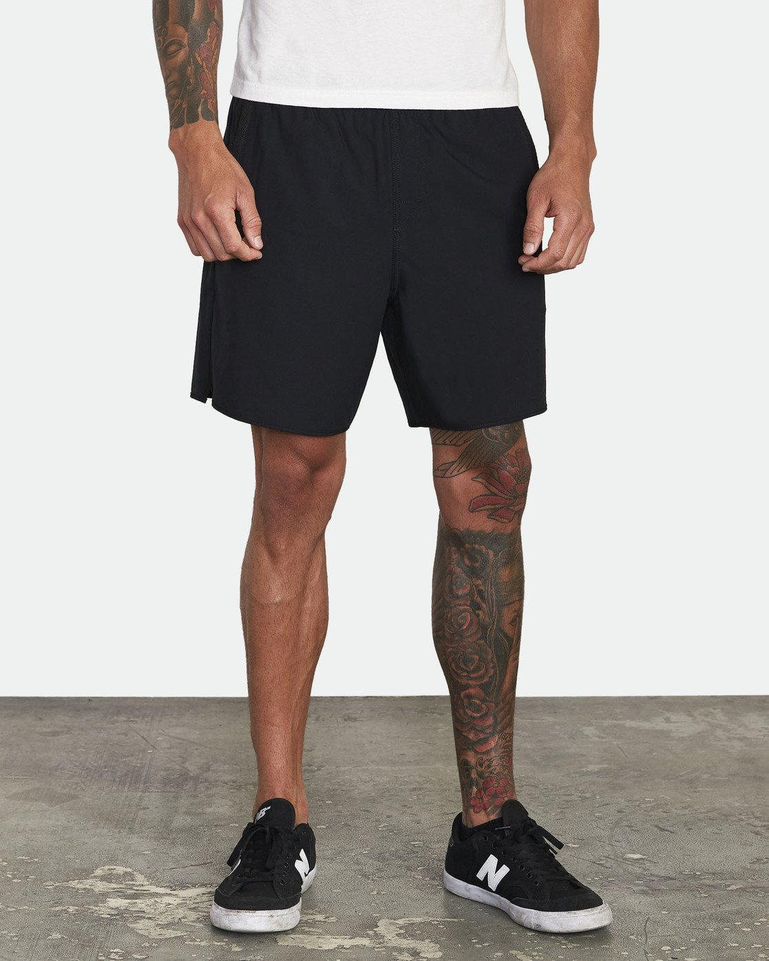 "5 YOGGER STRETCH recycled 17"" workout SHORT Black V201TRYS RVCA"