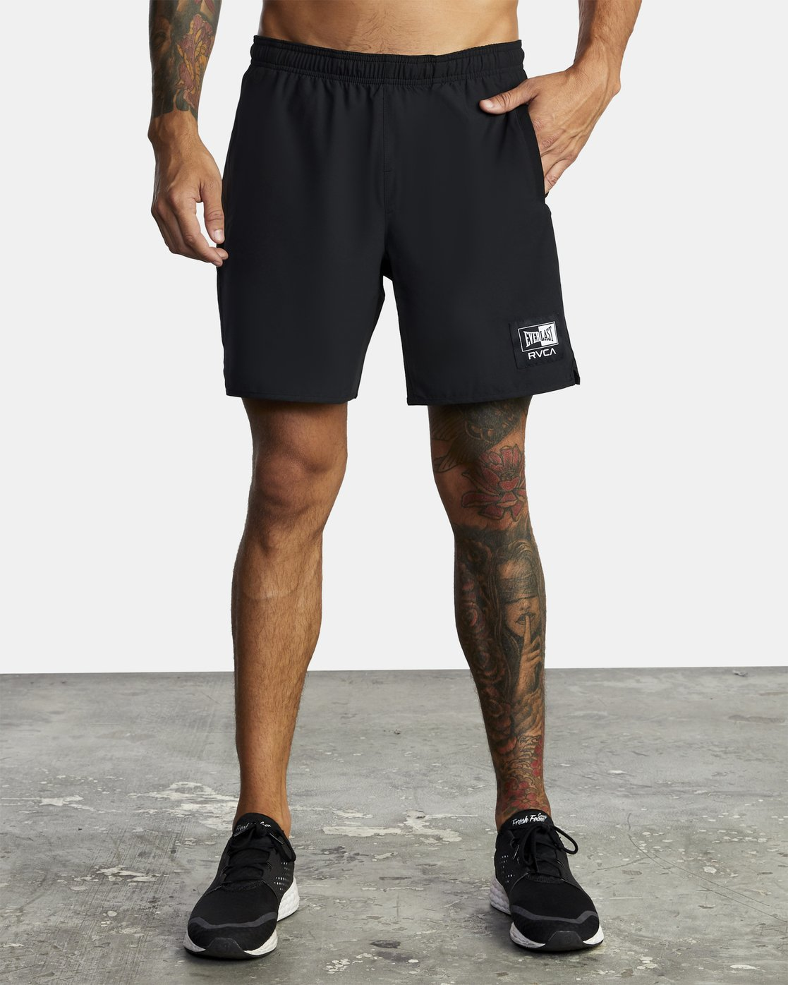"3 EVERLAST YOGGER IV ATHLETIC SHORTS 17"" Black V2091REY RVCA"