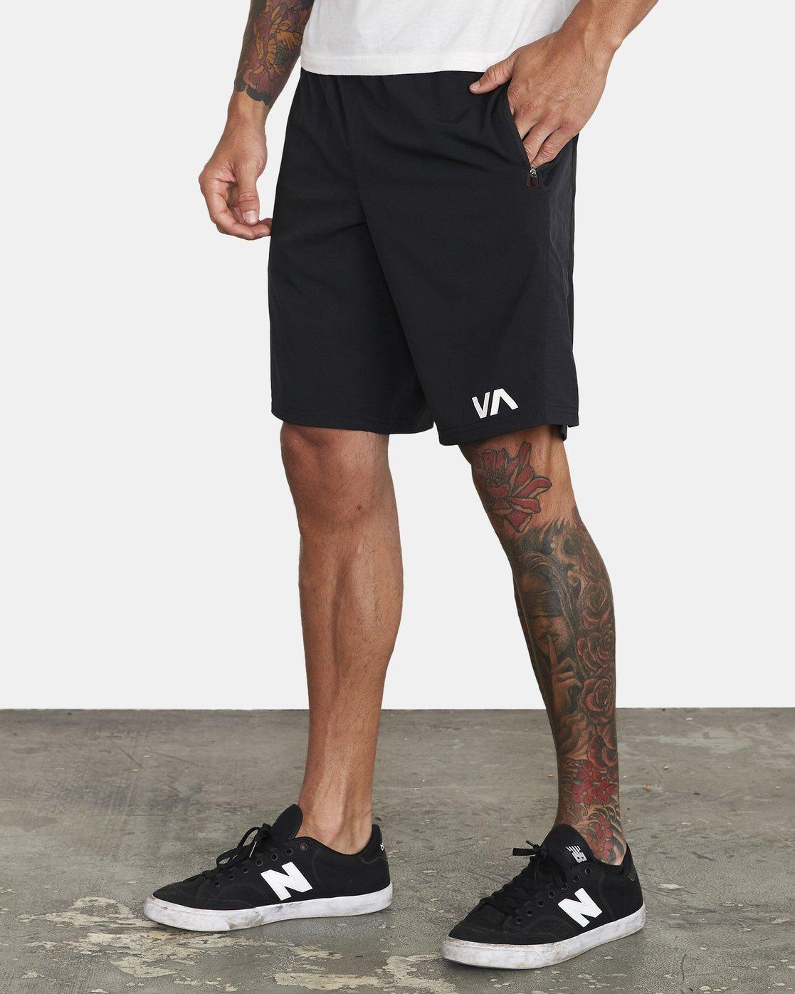 """3 YOGGER FLEX WORKOUT SHORTS 18"""" Black V2123RYA RVCA"""