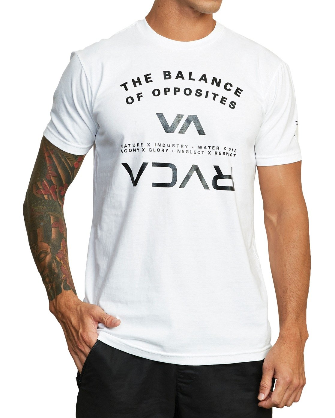 5 BALANCE ARC SHORT SLEEVE TEE White V4013RBA RVCA