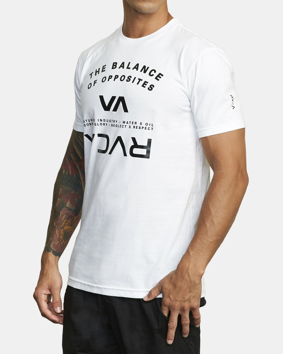 3 BALANCE ARC SHORT SLEEVE TEE White V4013RBA RVCA