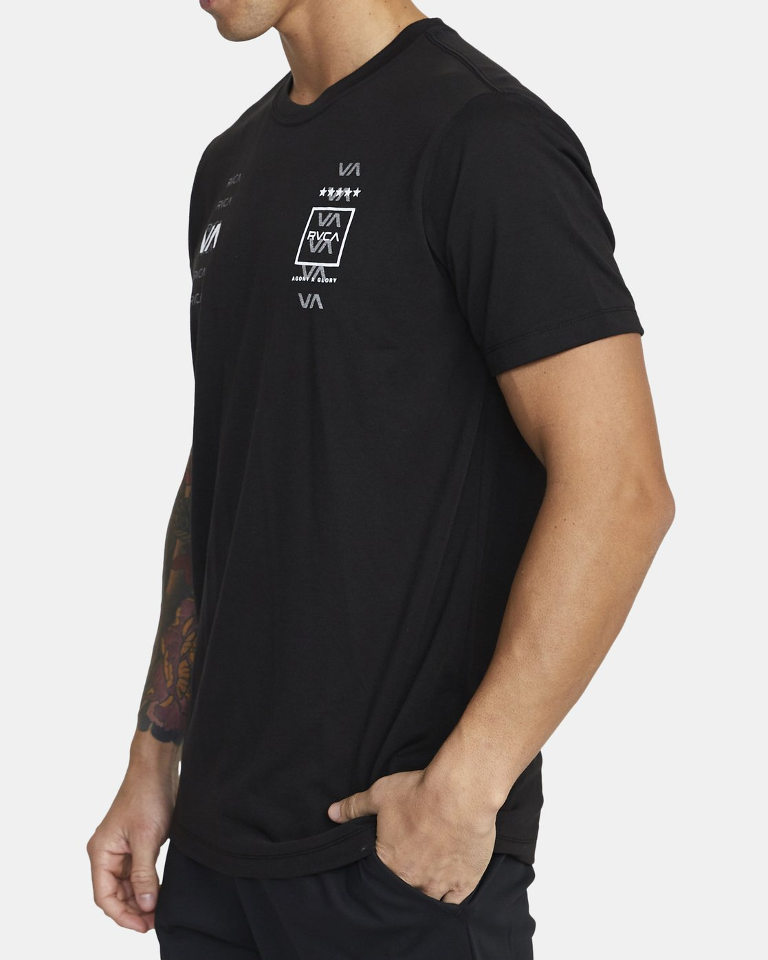 1 DOUBLE DOWN SHORT SLEEVE TEE Black V4043RDO RVCA