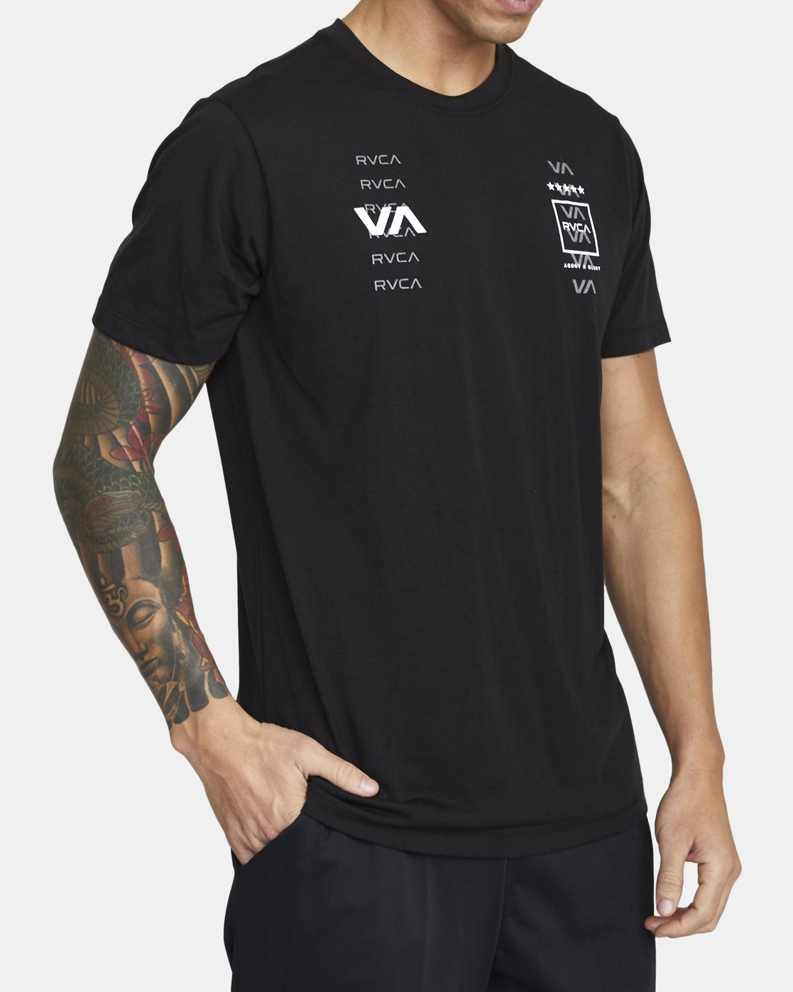 2 DOUBLE DOWN SHORT SLEEVE TEE Black V4043RDO RVCA