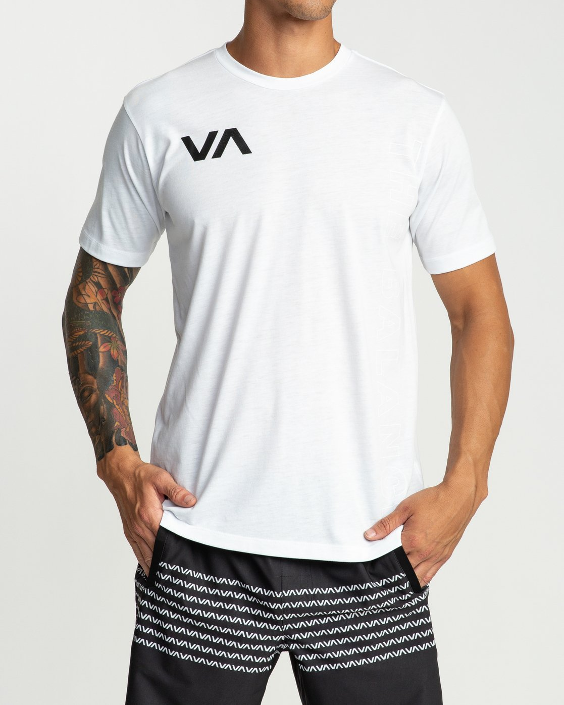 2 Pin Down Performance T-Shirt White V404URPD RVCA