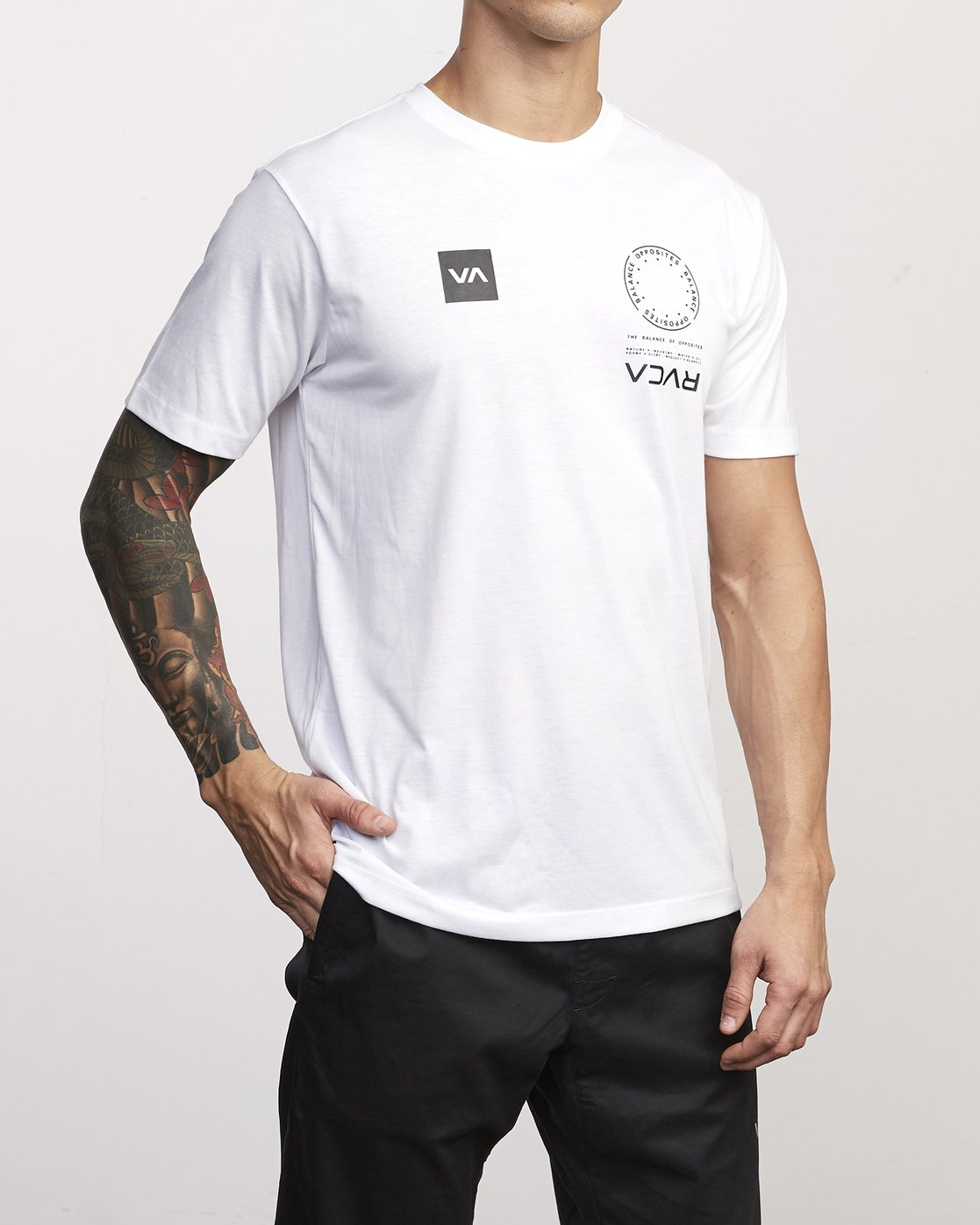 2 VA Mark Drirelease T-Shirt White V404WRVM RVCA