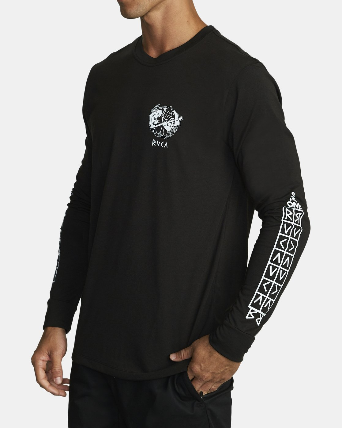 1 PROTECTION FROM LONG SLEEVE T-SHIRT Black V4532RPR RVCA