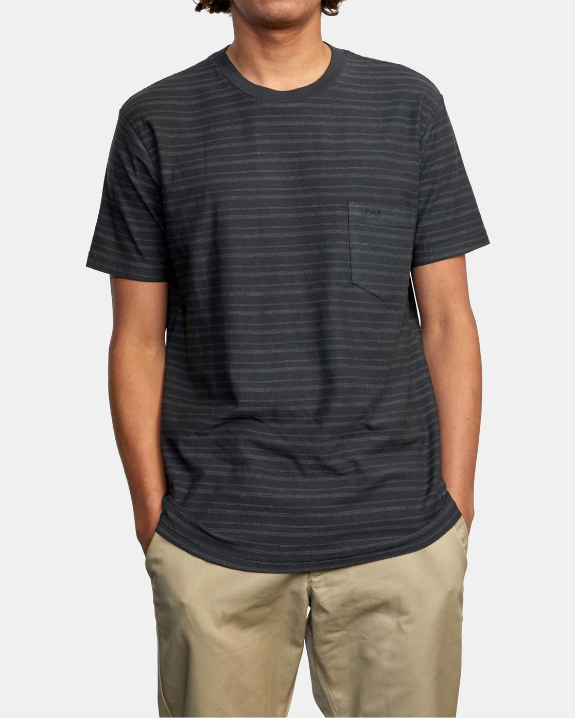 1 Texture Stripe - T-Shirt for Men Black W1KTRDRVP1 RVCA