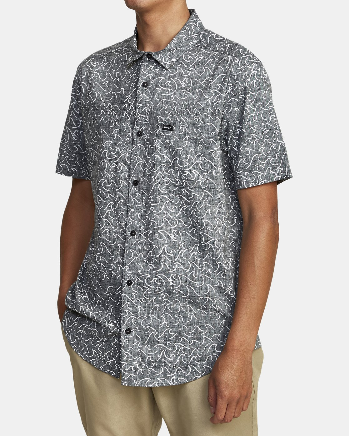 3 Oblow Waves - Short Sleeve Shirt for Men Black W1SHIDRVP1 RVCA