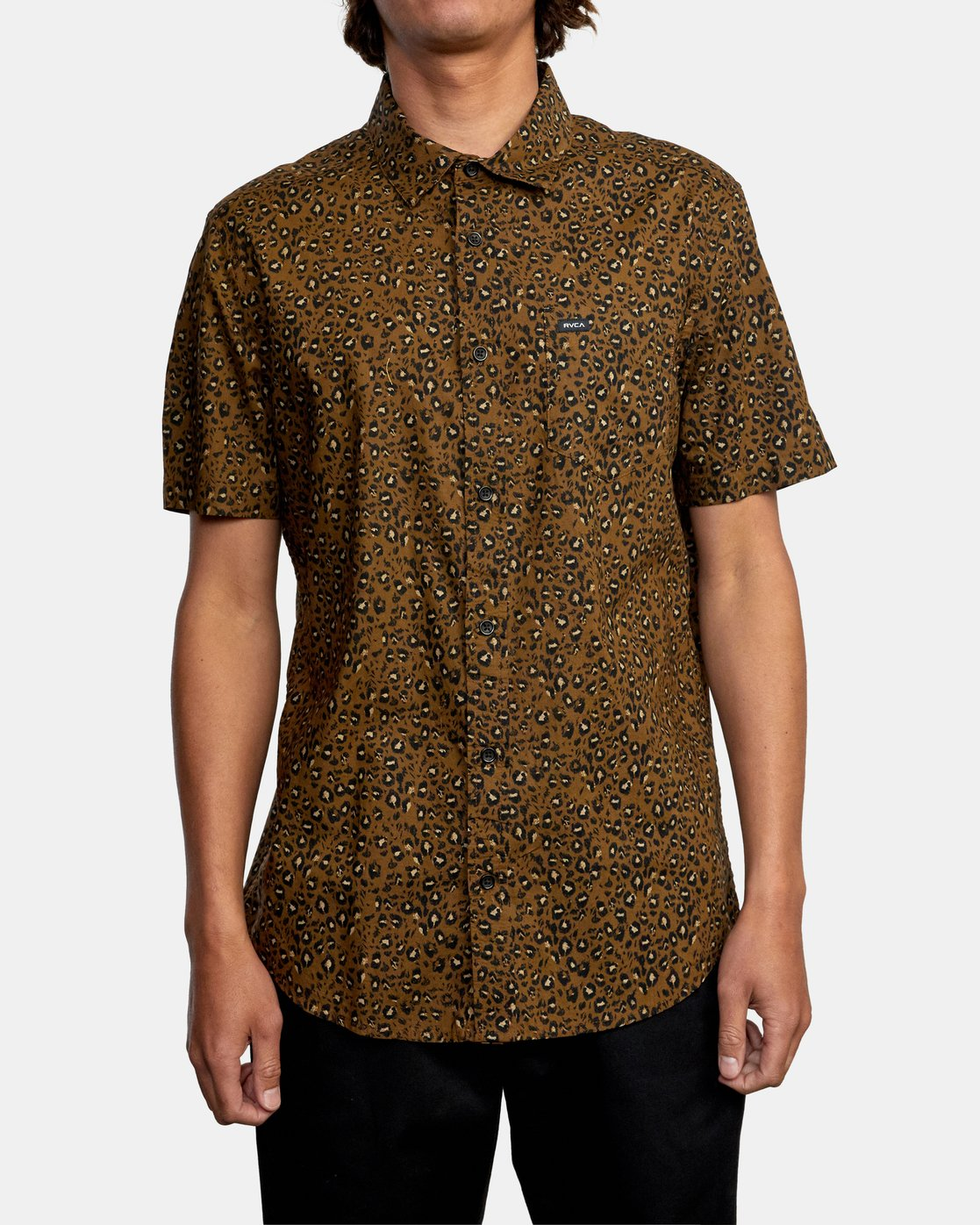 1 No Fun - Short Sleeve Shirt for Men Brown W1SHRERVP1 RVCA