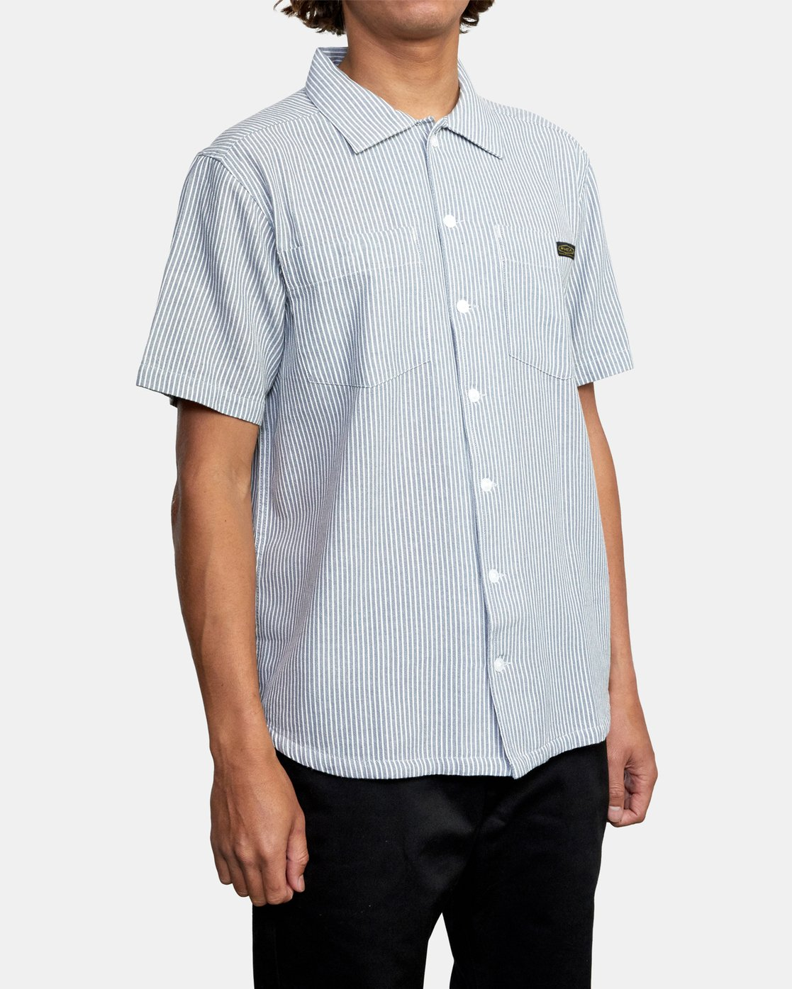 5 Recession Collection Day Shift Stripe - Short Sleeve Shirt for Men Blue W1SHRXRVP1 RVCA