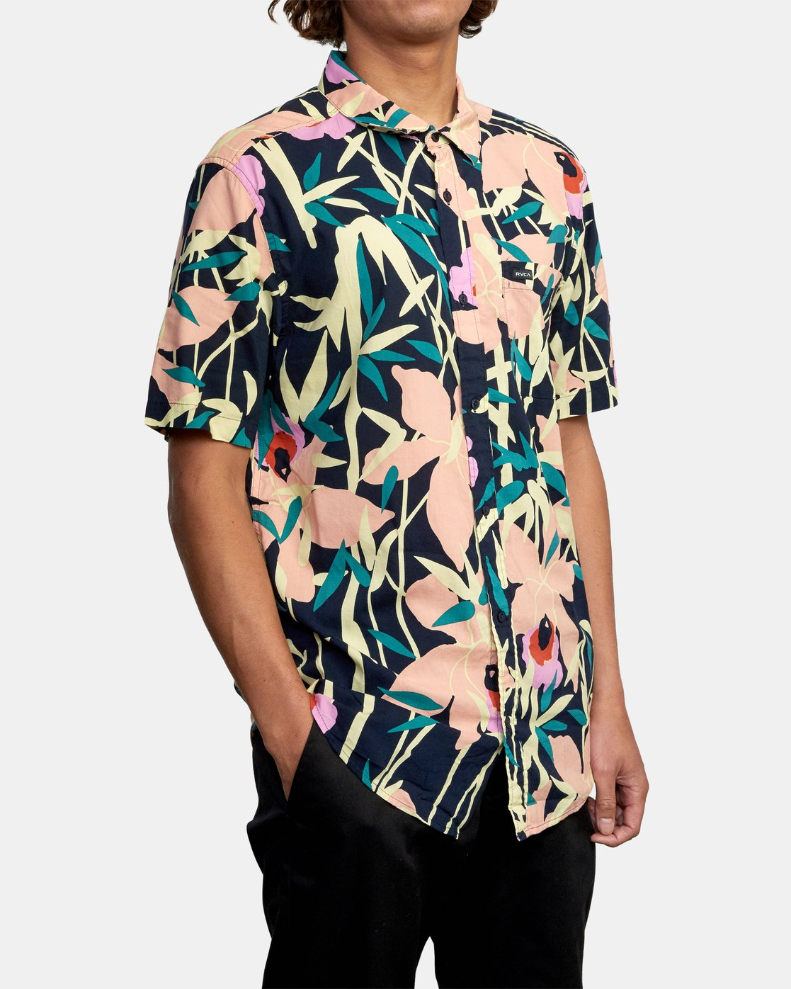 5 Bamboo Floral - Short Sleeve Shirt for Men Blue W1SHRZRVP1 RVCA