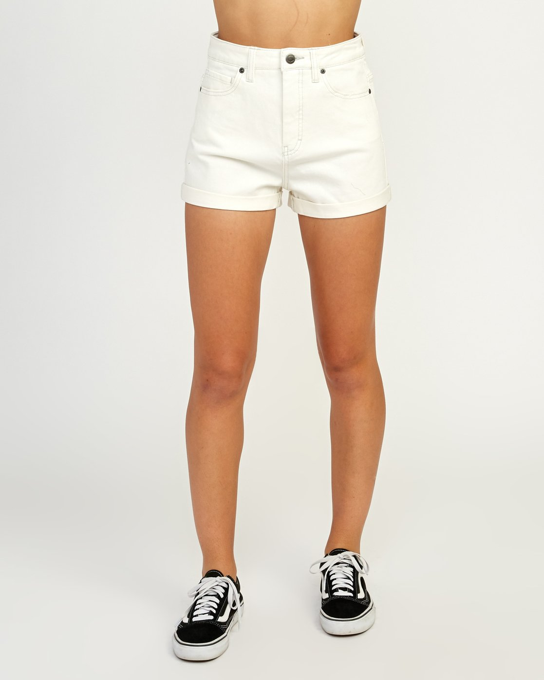 1 Hi Roller High Rise Denim Short White W201TRRO RVCA