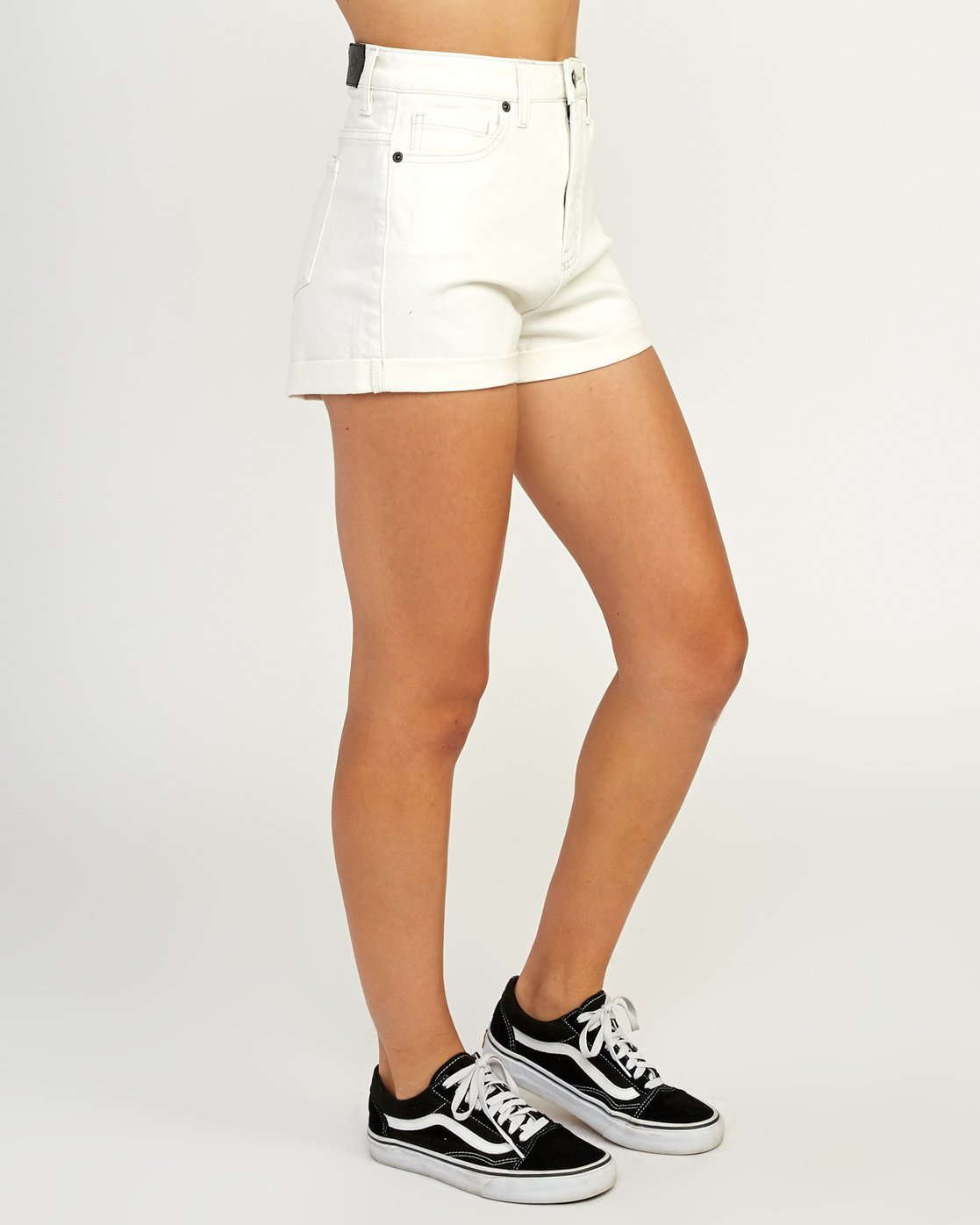 5 Hi Roller High Rise Denim Short White W201TRRO RVCA