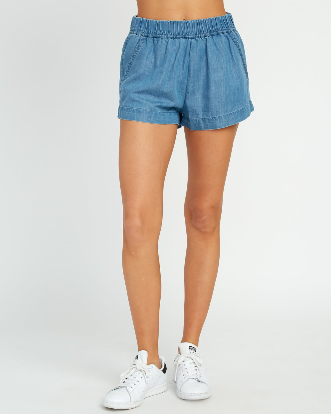 1 Railing Chambray Shorts Blue W202URRA RVCA