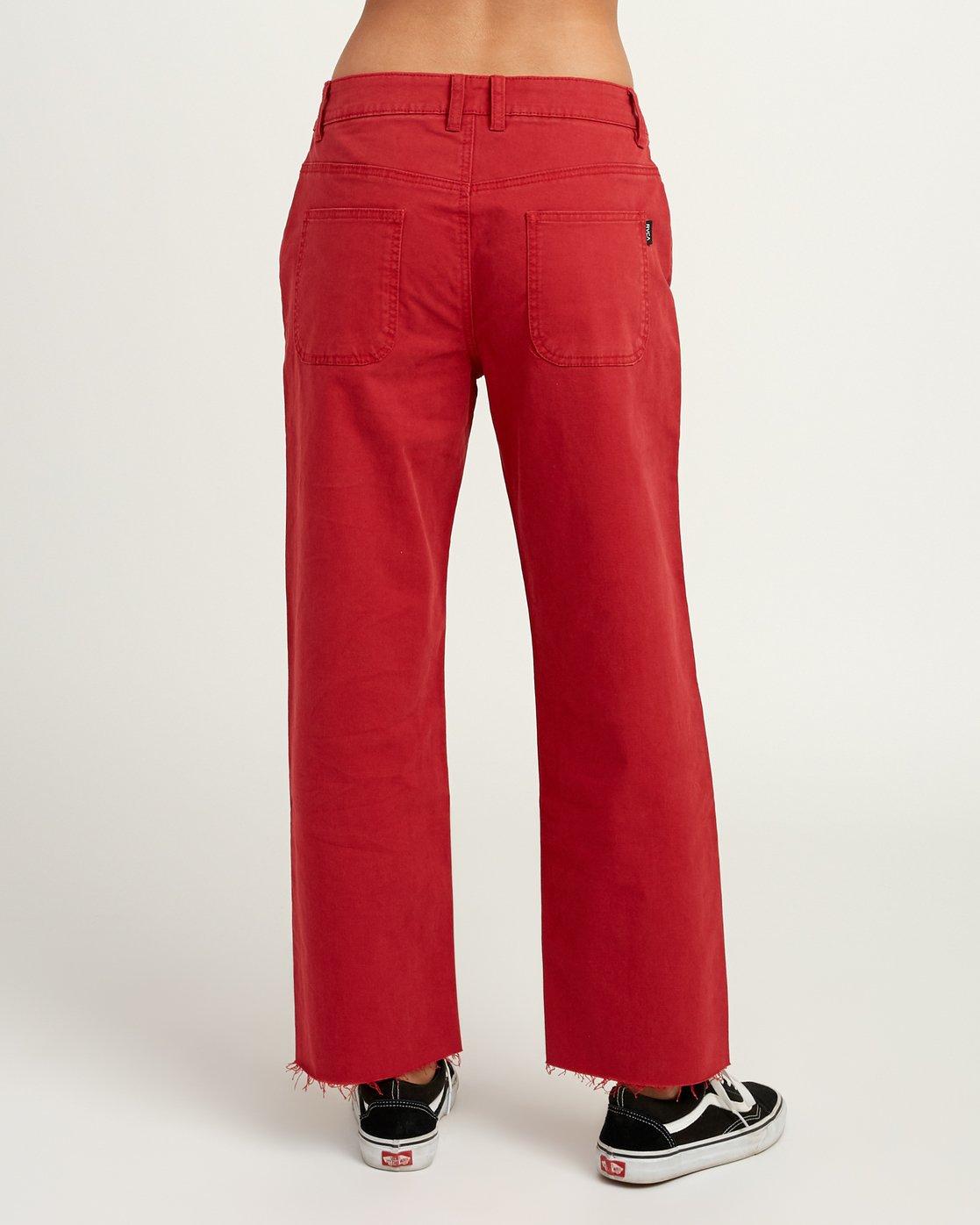 4 RVCA Tripod Wide Leg Pant Red W301QRTR RVCA