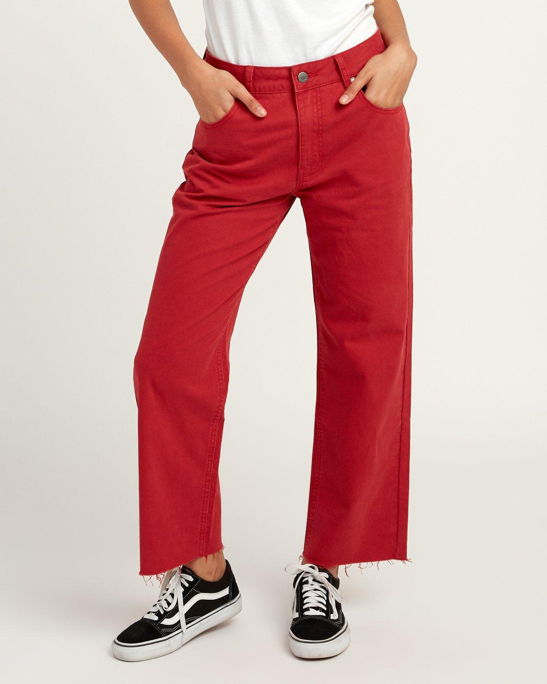 0 RVCA Tripod Wide Leg Pant Red W301QRTR RVCA