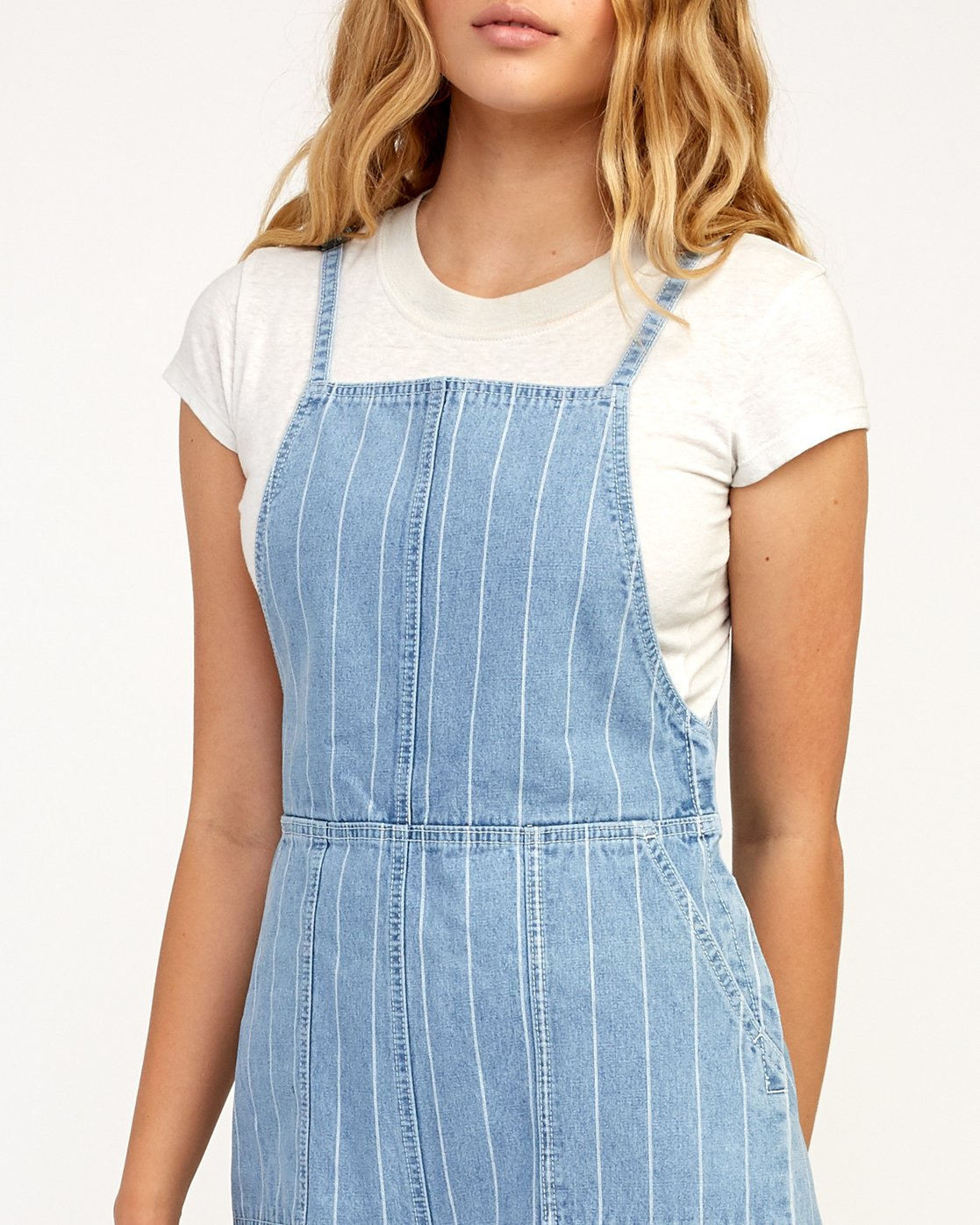 4 Called It Striped Denim Overalls Blue W301TRCA RVCA