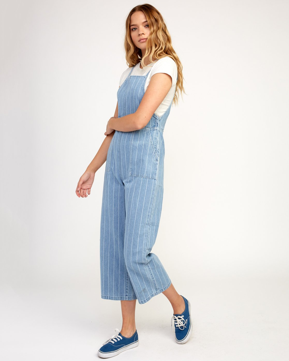 2 Called It Striped Denim Overalls Blue W301TRCA RVCA