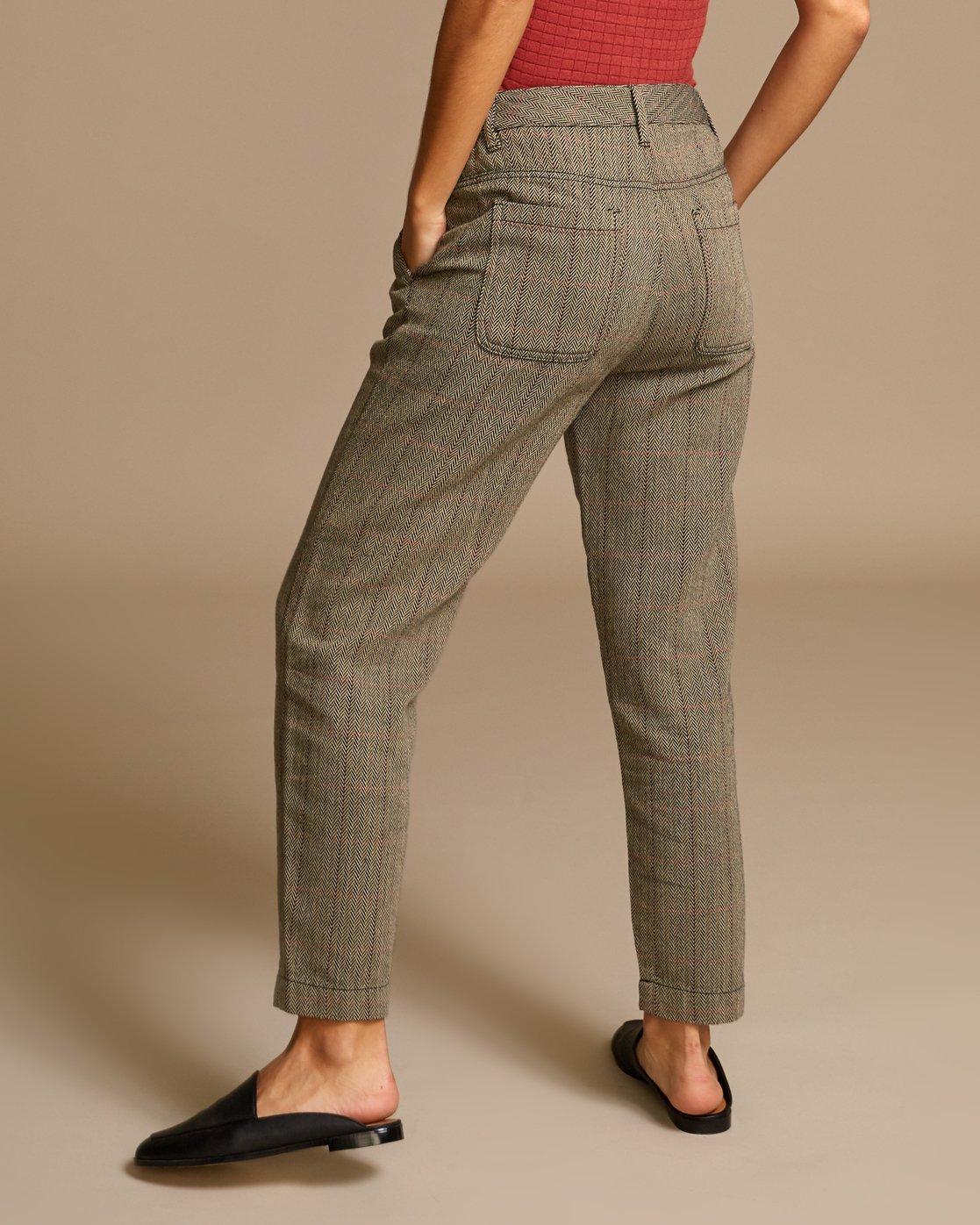 2 Lennex Herringbone Trousers Brown W301VRLE RVCA